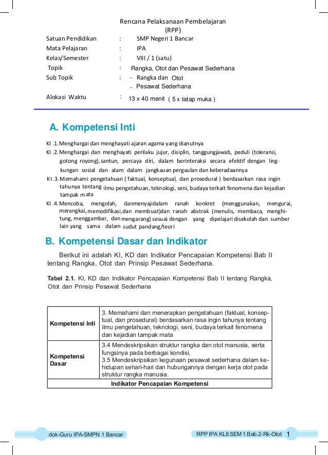 Rencana Pelaksanaan Pembelajaran  (RPP)  Satuan Pendidikan : SMP Negeri 1 Bancar  Mata Pelajaran : IPA  Kelas/Semester : V...