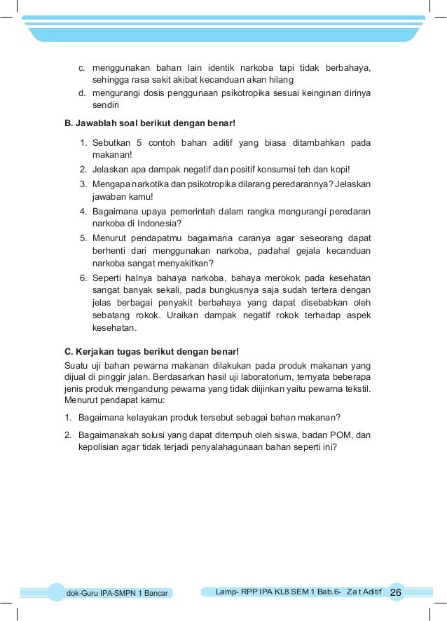 Rpp Ipa K 13 Kelas 8 Semester 1 Bab6 Zat Aditif Dan Adiktif