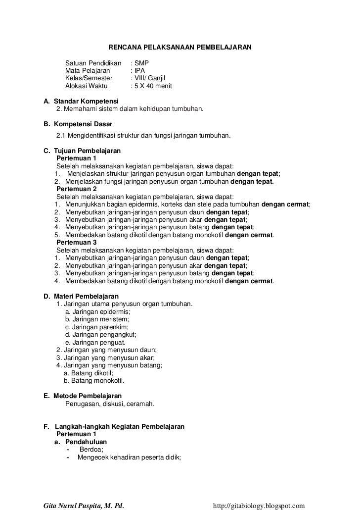 RENCANA PELAKSANAAN PEMBELAJARAN       Satuan Pendidikan     : SMP       Mata Pelajaran        : IPA       Kelas/Semester ...