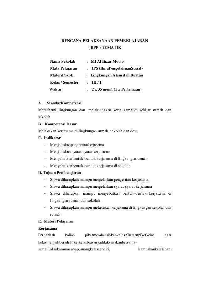 Rpp Ips Kelas 3 Tematik