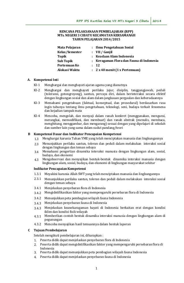 RPP IPS Kurtilas Kelas VII MTs Negeri 3 Cibatu 2014  RENCANA PELAKSANAAN PEMBELAJARAN (RPP)  MTs. NEGERI 3 CIBATU KECAMATA...