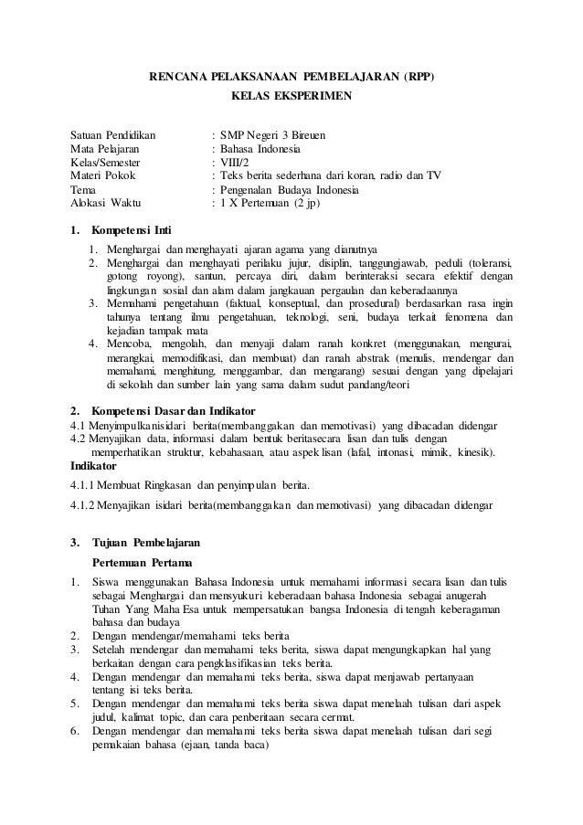 RENCANA PELAKSANAAN PEMBELAJARAN (RPP) KELAS EKSPERIMEN Satuan Pendidikan : SMP Negeri 3 Bireuen Mata Pelajaran : Bahasa I...