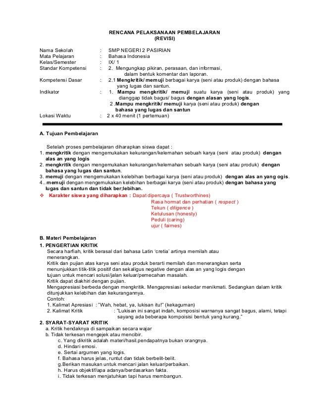 Rpp Bahasa Indonesia Kls 9 Smp Ktsp 2015 2016 Revisi
