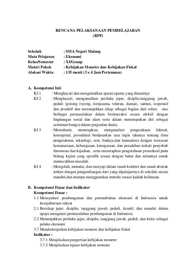 Rpp Ekonomi Sma Xi Kd 3 7