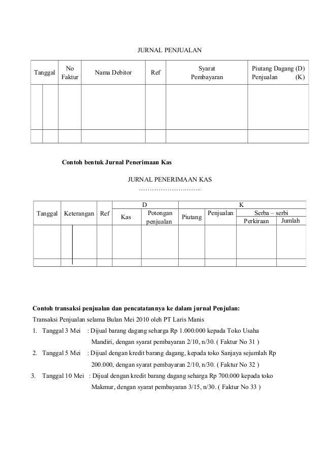 Rpp Kd 3 6 Akt 1 2 Jurnal Penjualan J Terima Kas