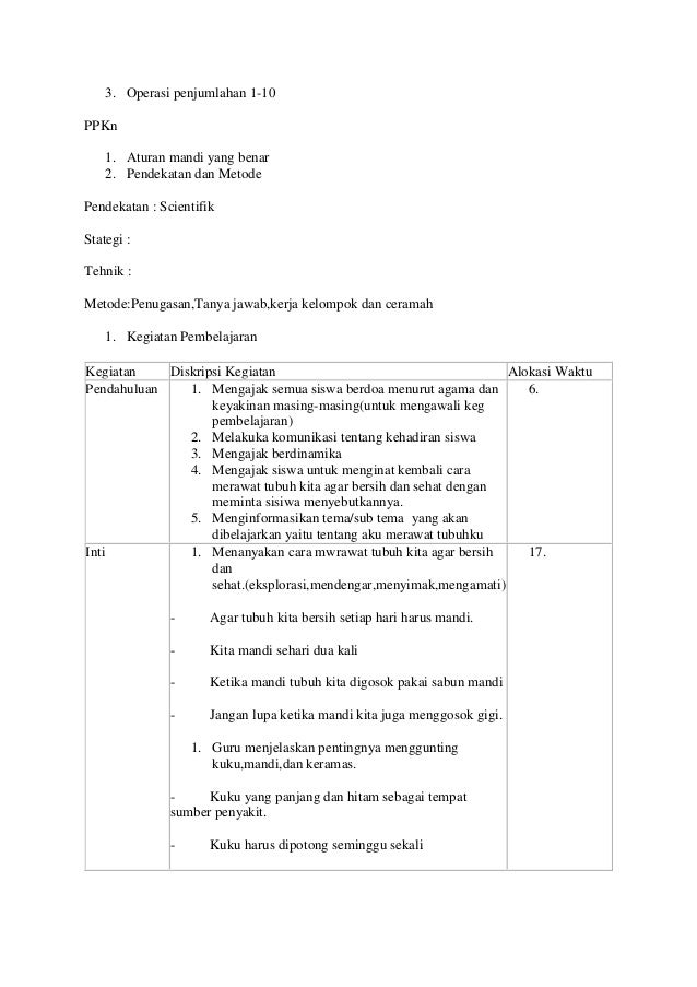 Rpp Kelas 1 Tema 1 Sub Tema 3 Pembelajaran
