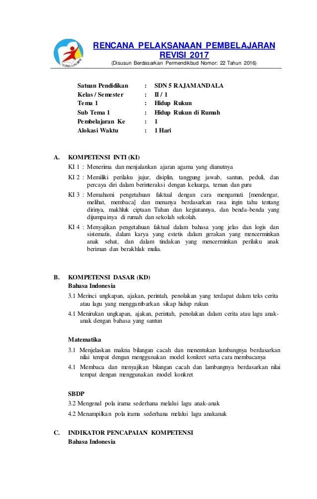 Rpp Kelas 2 Tema 2 Hidup Rukun Revisi 2018