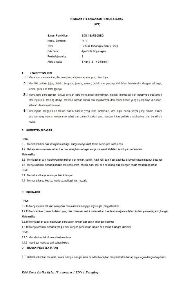 Rpp Kelas 4 Semester 1 Tema 3 Kurikulum 2013 Revisi 2016 By Www Wal