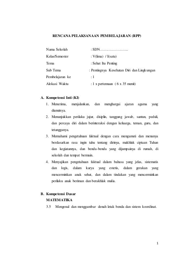 Rpp Kelas 5 Tema 4 Sub 1 Pem 1