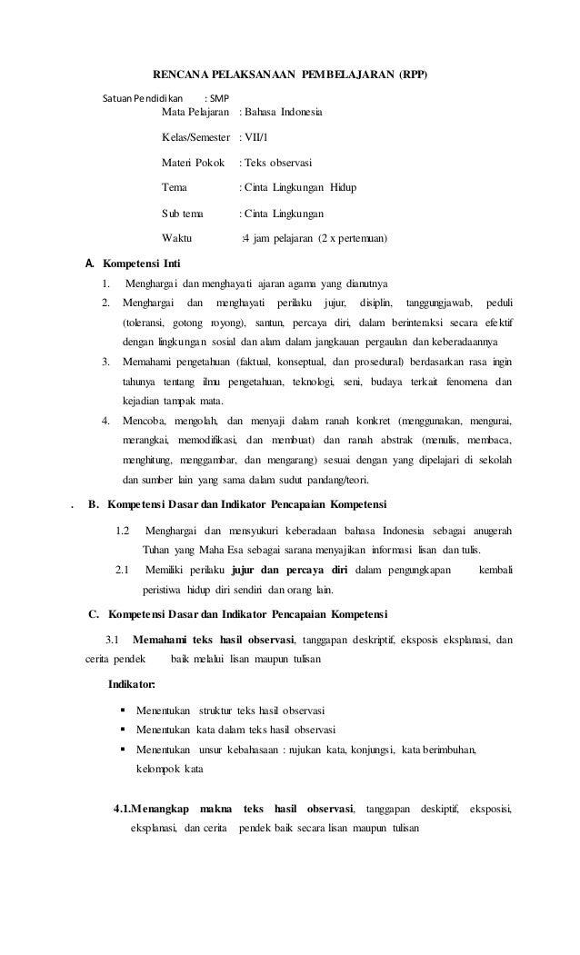 Rpp Kelas 7 Teks Observasi