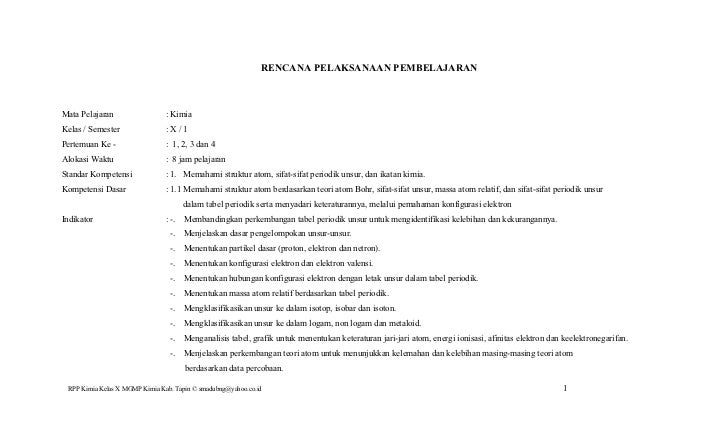 RENCANA PELAKSANAAN PEMBELAJARANMata Pelajaran                  : KimiaKelas / Semester                :X/1Pertemuan Ke - ...