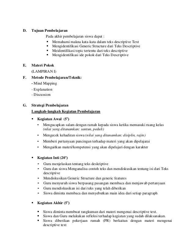 Lesson Plan For X Ii Descriptive Text