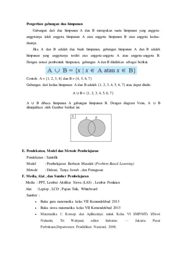 Rpp kurikulum 2013 operasi himpunan irisan dan gabungan sitti nur 4 pengertian gabungan ccuart Image collections