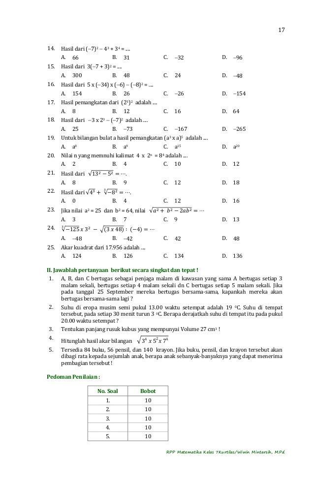 RPP Matematika Kelas 7 Kurtilas Semester 1 2014 2015