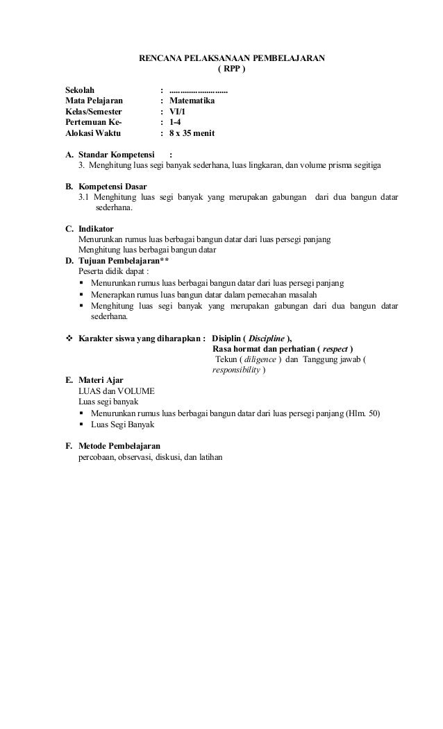 Rpp Matematika Kelas Vi Ktsp