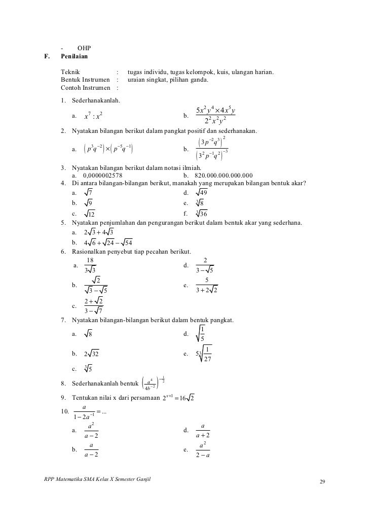 Rpp Matematika Sma Pangkat Akar Dan Logaritma