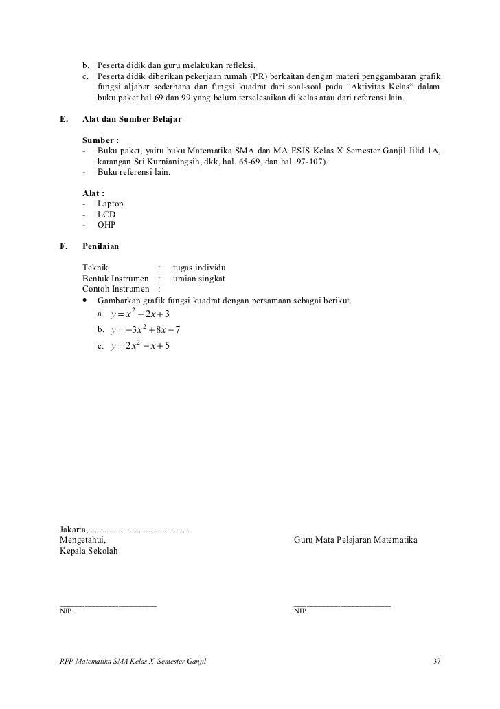 Rpp Matematika Persamaan Pertidaksamaan Dan Fungsi Kuadrat
