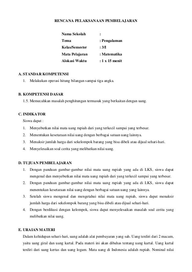 Rpp Dan Silabus Matematika Sd Kelas 3 Semester 1 Dan 2 Specificationroot