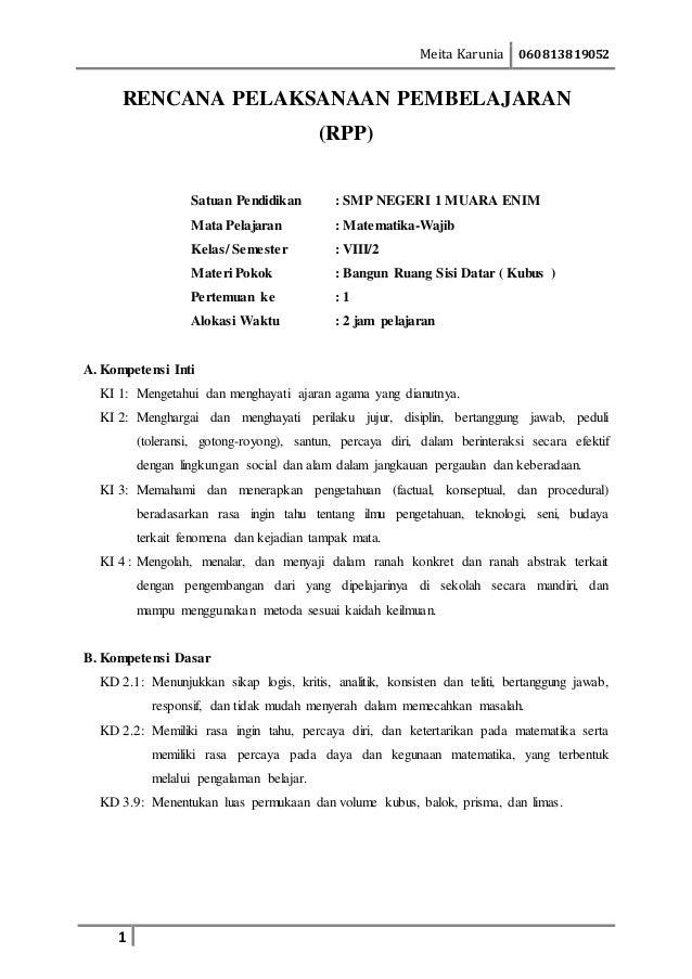 Contoh Rpp Untuk Siswa Dan Siswi Smp