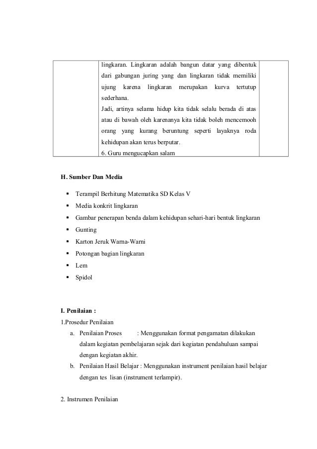 Rpp matematika tentang keliling dan luas lingkaran