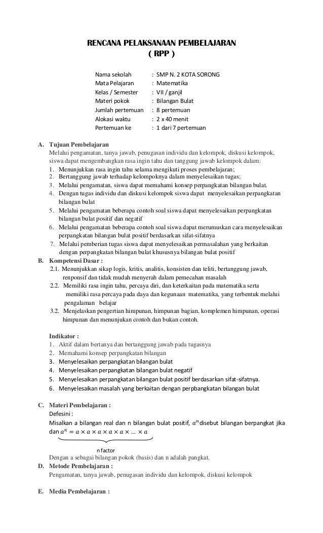 Rpp Kelas 7 Kurikulum 2013 Noviyanto Husada