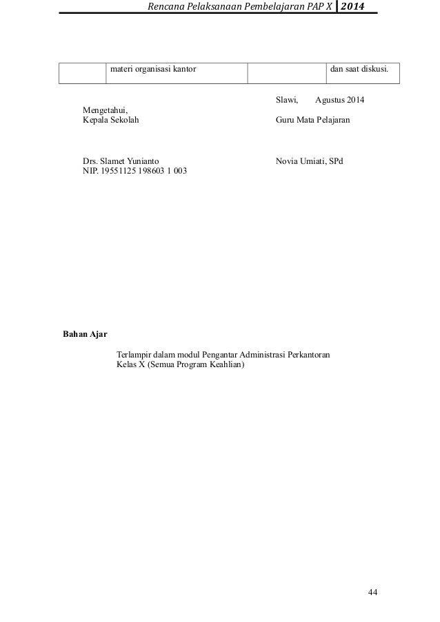 Rpp Pengantar Administrasi Perkantoran X