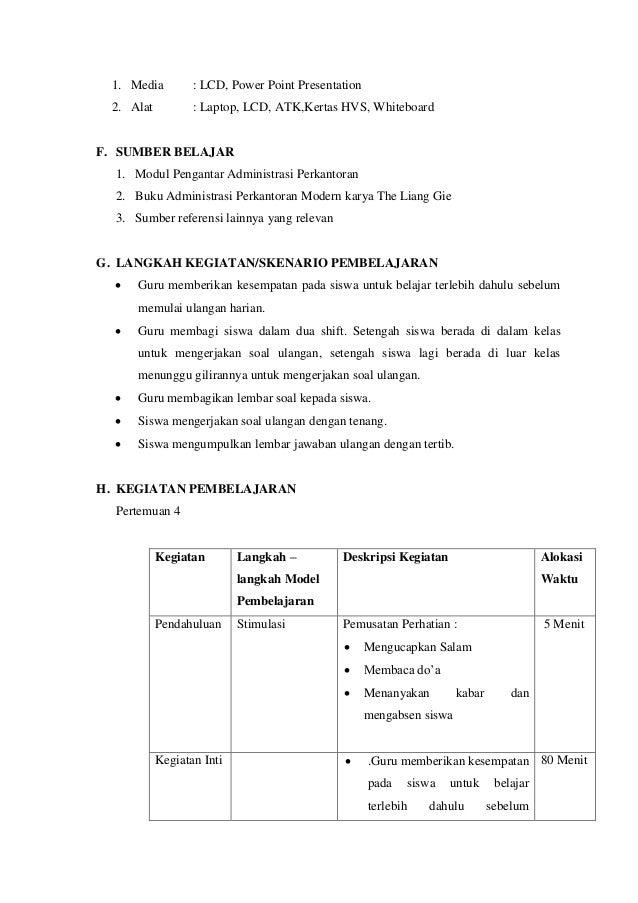 Modul Pembelajaran Administrasi Perkantoran Rpp Pengantar Administrasi Perkantoran X Rpp