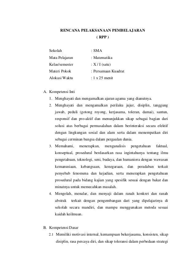 Contoh Rpp Persamaan Kuadrat Kurikulum  Rencana Pelaksanaan Pembelajaran Rpp Sekolah Sma Mata Pelajaran Matematika Kelassemester
