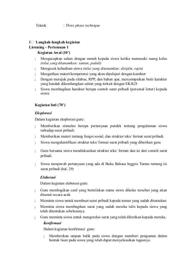 Rpp Binggris Kelas X Ktsp Personal Letter Writtingskill