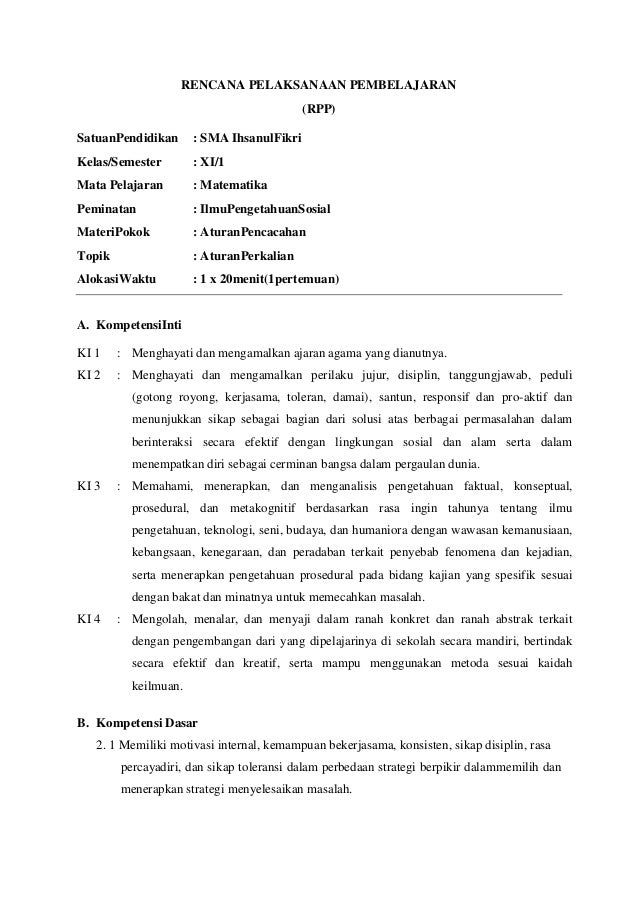 RPP MATEMATIKA KURIKULUM 2013 ATURAN PERKALIAN