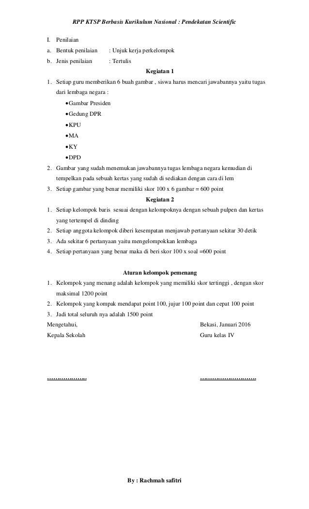 Rpp Pkn Kelas 4 Semester 2 Pemerintahan Pusat Berbasis Pendekatan Sci