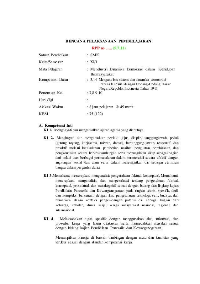 Rpp Pkn Kelas Xi Semester 1 Pada Kd 3 14 Versi Tefa Plus