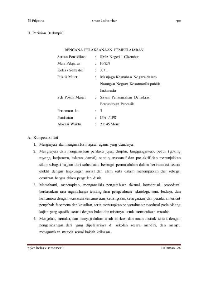 Rpp Ppkn X Bab 3 1516 8 Kali Jp