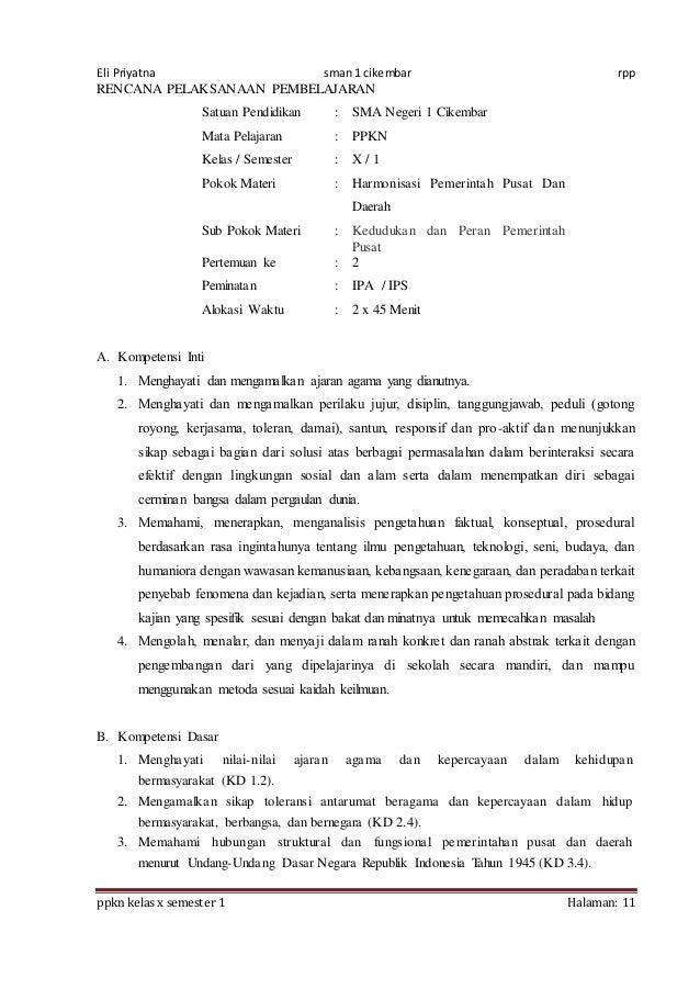 Rpp Ppkn X Bab 4 1516 8 Kali Jpa