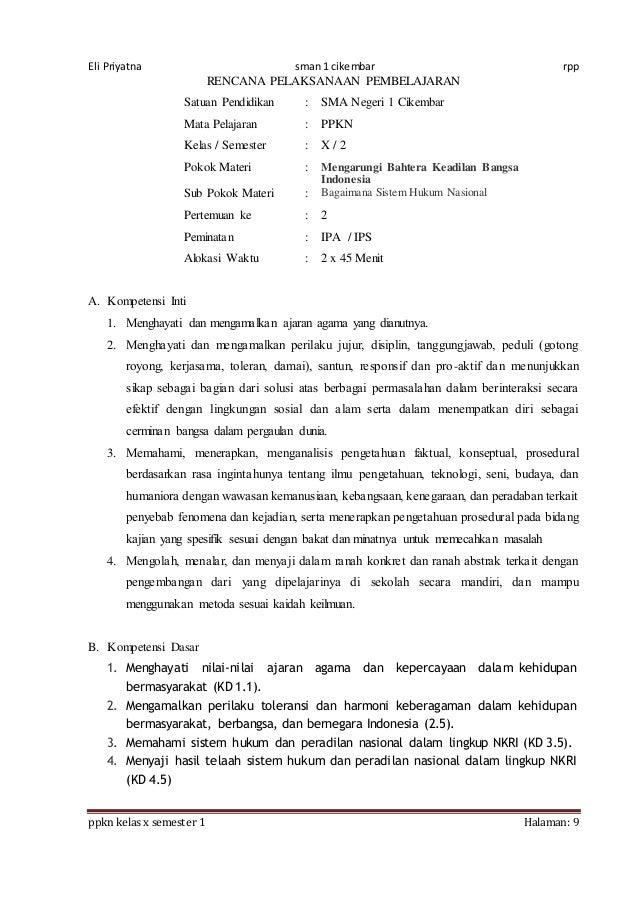 Rpp Ppkn X Bab 5 1516 8 Kali Jp