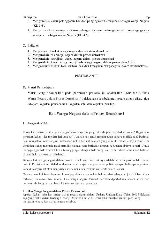 Rpp Ppkn X Bab 6 1516 8 Kali Jpa