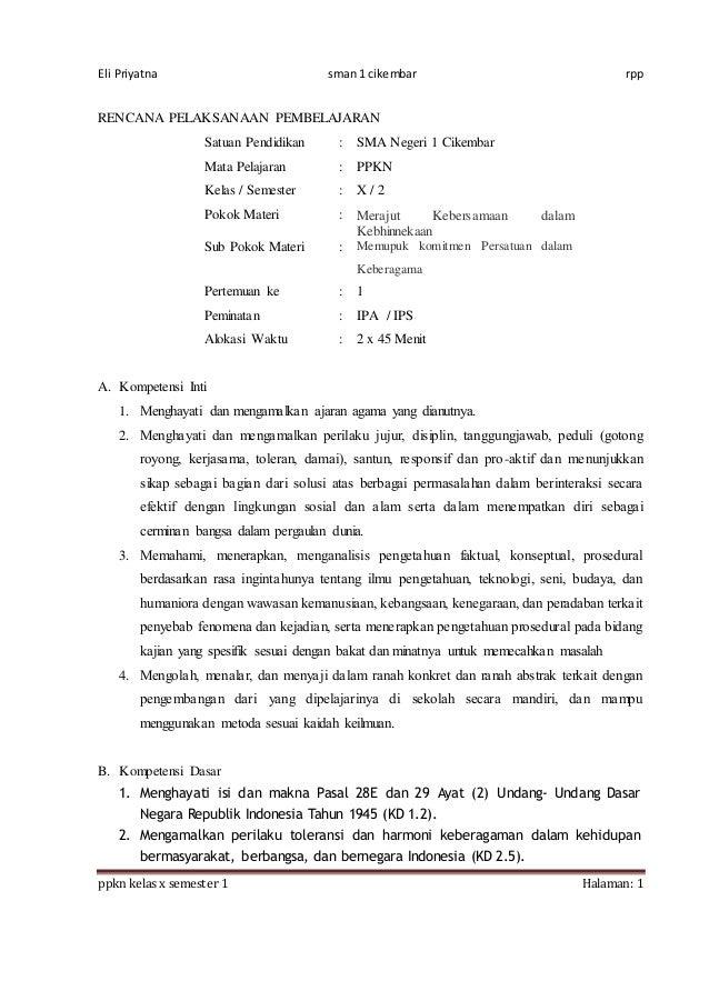 Eli Priyatna sman 1 cikembar rpp ppkn kelas x semester 1 Halaman: 1 RENCANA PELAKSANAAN PEMBELAJARAN Satuan Pendidikan : S...
