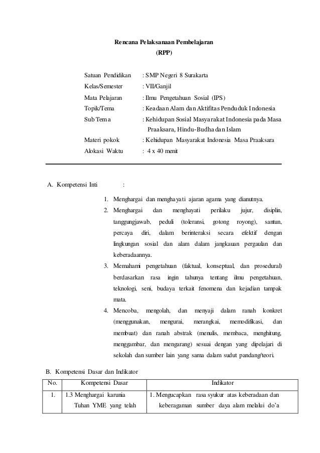 Rencana Pelaksanaan Pembelajaran  (RPP)  Satuan Pendidikan : SMP Negeri 8 Surakarta  Kelas/Semester : VII/Ganjil  Mata Pel...