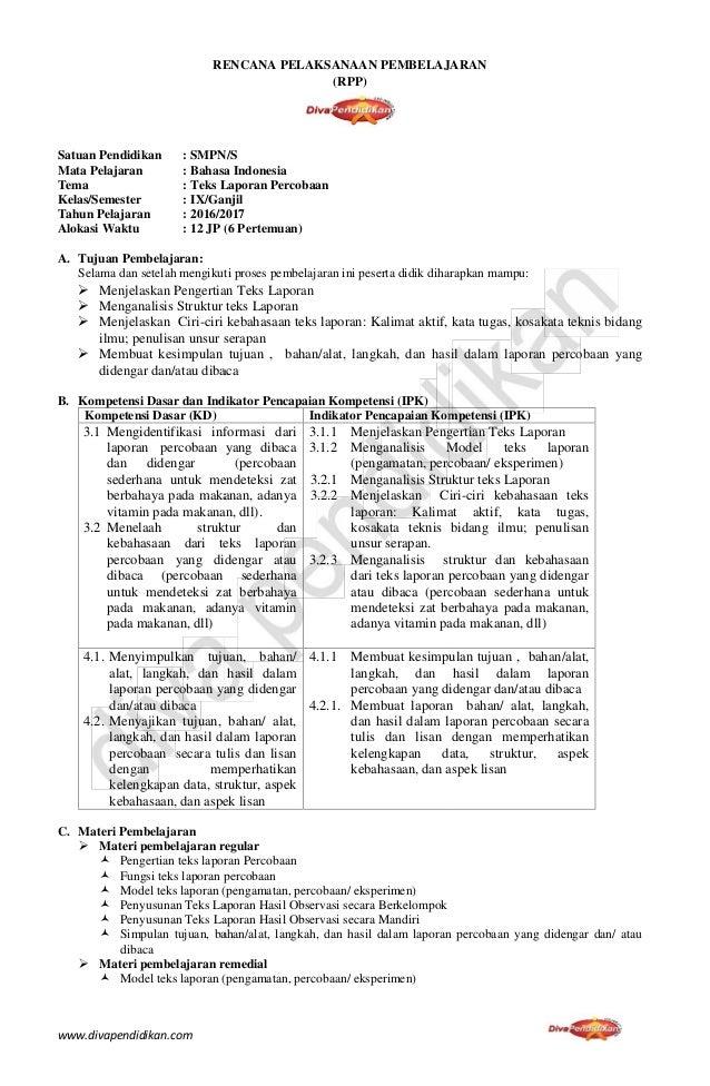 Rpp Revisi 2016 Bahasa Indonesia Smp Kelas 9 Rpp Diva Pendidikan