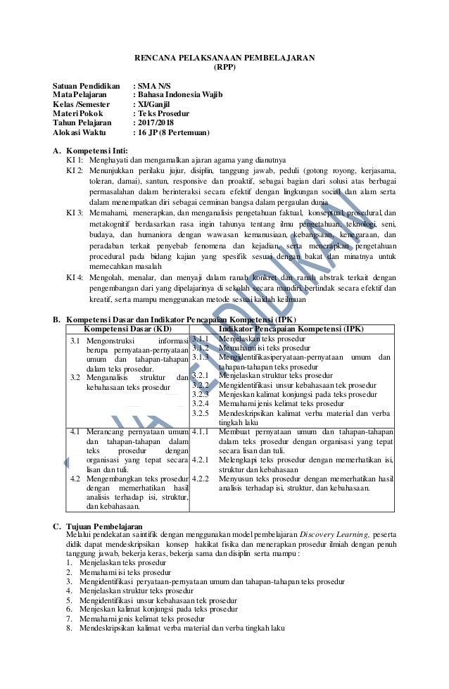 Rpp Revisi 2017 Bahasa Indonesia Wajib Kelas 11 Sma