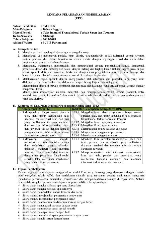 RENCANA PELAKSANAAN PEMBELAJARAN (RPP) Satuan Pendidikan : SMK N/S Mata Pelajaran : Bahasa Inggris Materi Pokok : Teks Int...