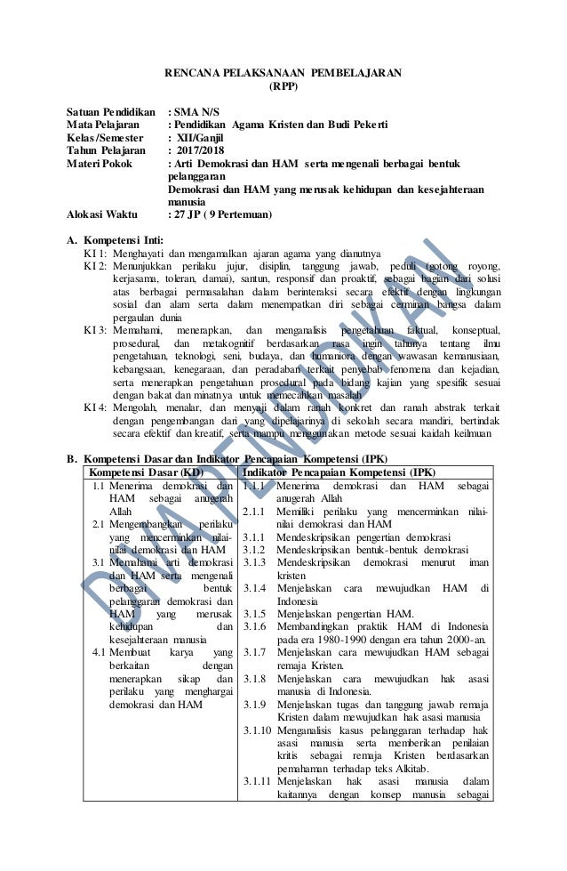 Rpp Revisi 2017 Pak Bp Kelas 12 Sma