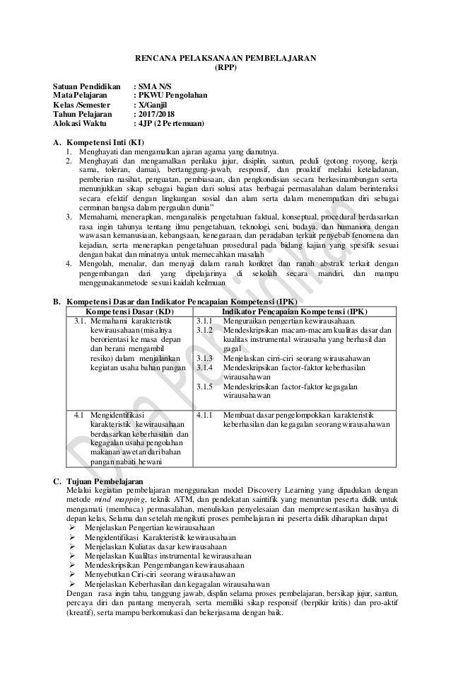 Rpp Revisi 2017 Pkwu Aspek Pengolahan Kelas 10 Sma