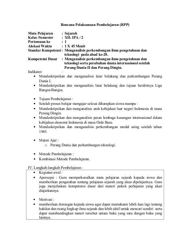 Rpp Sejarah Kelas Xii Ipa Sem Ii
