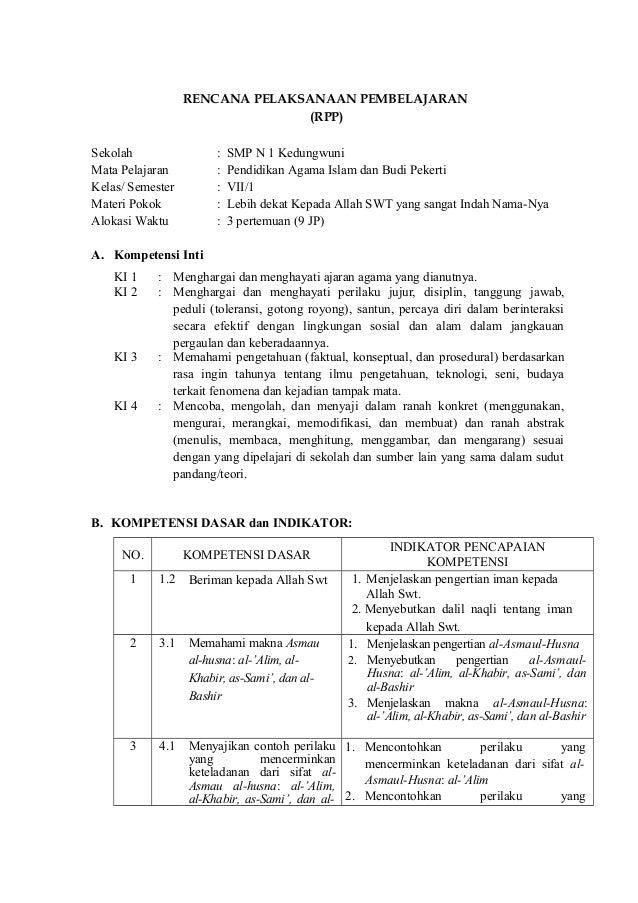 Rpp Dan Silabus Budi Pekerti Smp Kelas Vii Hot Nami Satsuki 1 20