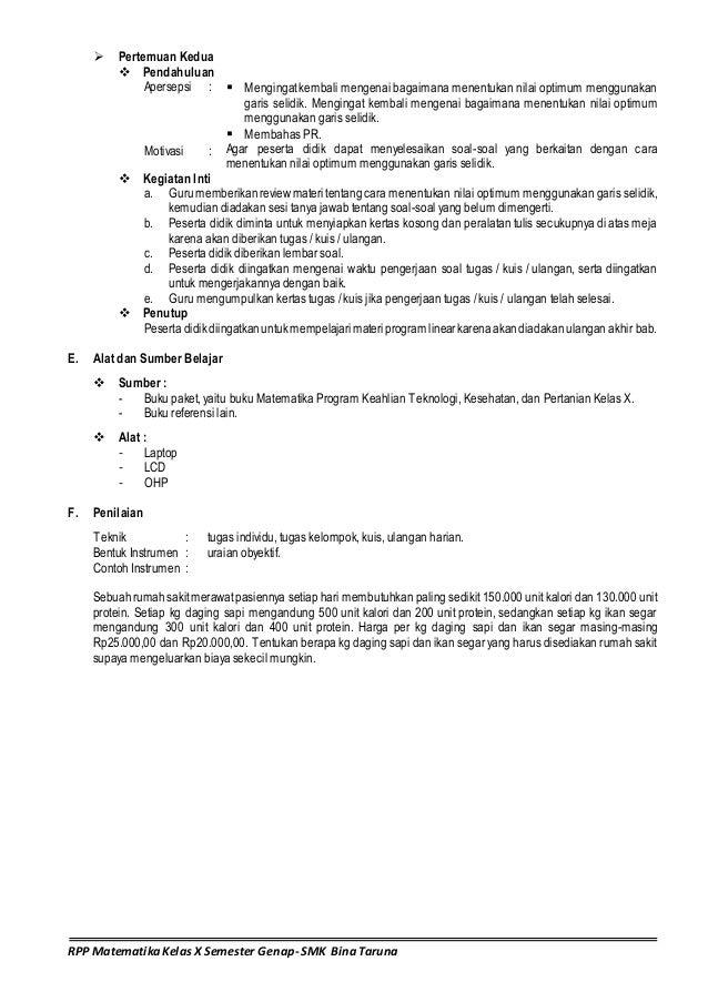 Rpp Semester Ii Matematika Smk B Ina Taruna Matriks Program Linear