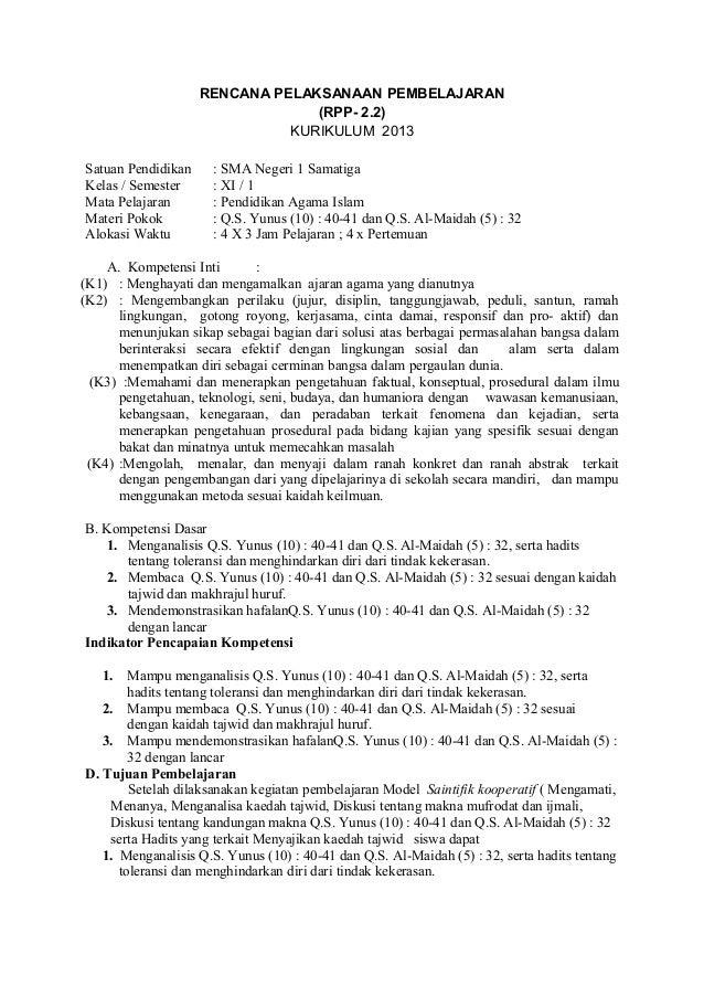 RENCANA PELAKSANAAN PEMBELAJARAN (RPP- 2.2) KURIKULUM 2013 Satuan Pendidikan : SMA Negeri 1 Samatiga Kelas / Semester : XI...