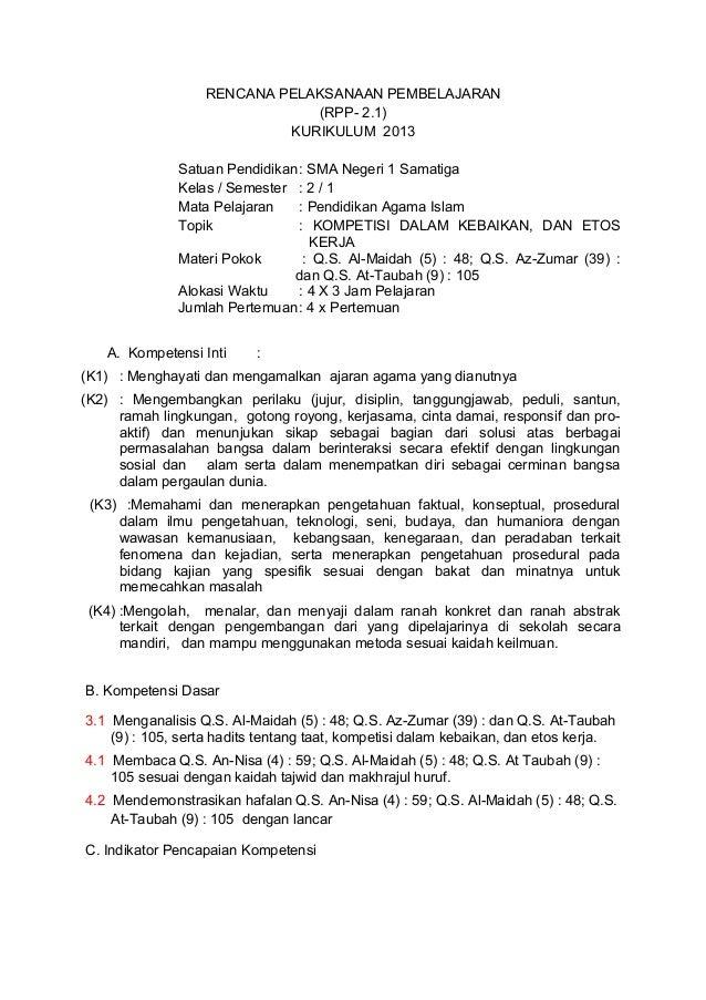 RENCANA PELAKSANAAN PEMBELAJARAN (RPP- 2.1) KURIKULUM 2013 Satuan Pendidikan: SMA Negeri 1 Samatiga Kelas / Semester : 2 /...