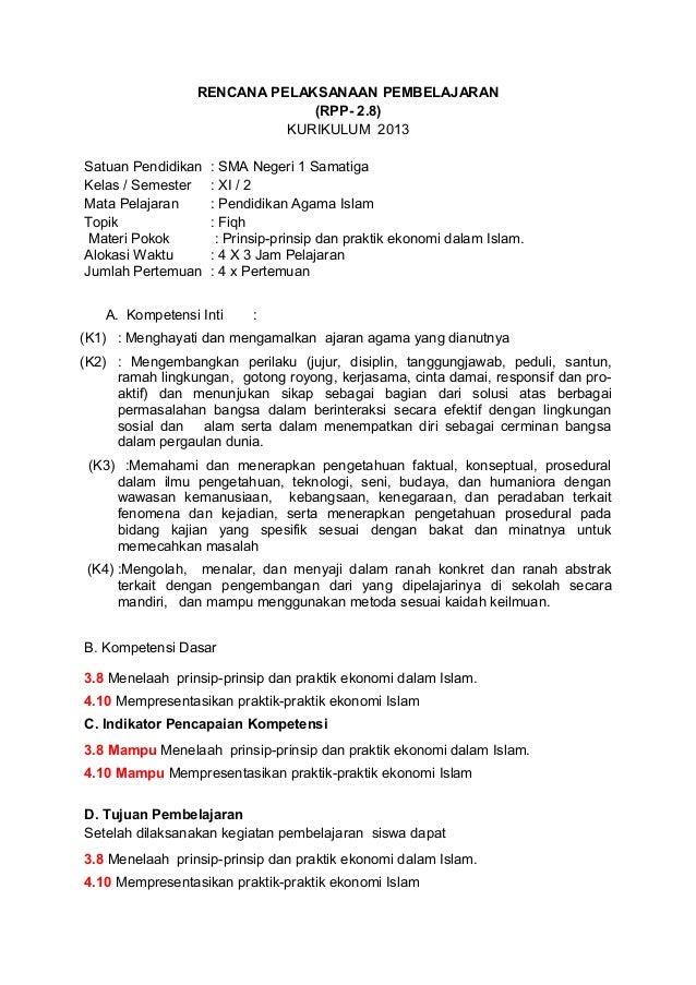 Rpp Pai Xi Kurikulum 2013 Seri 2 8 Prinsip Ekonom Iislam