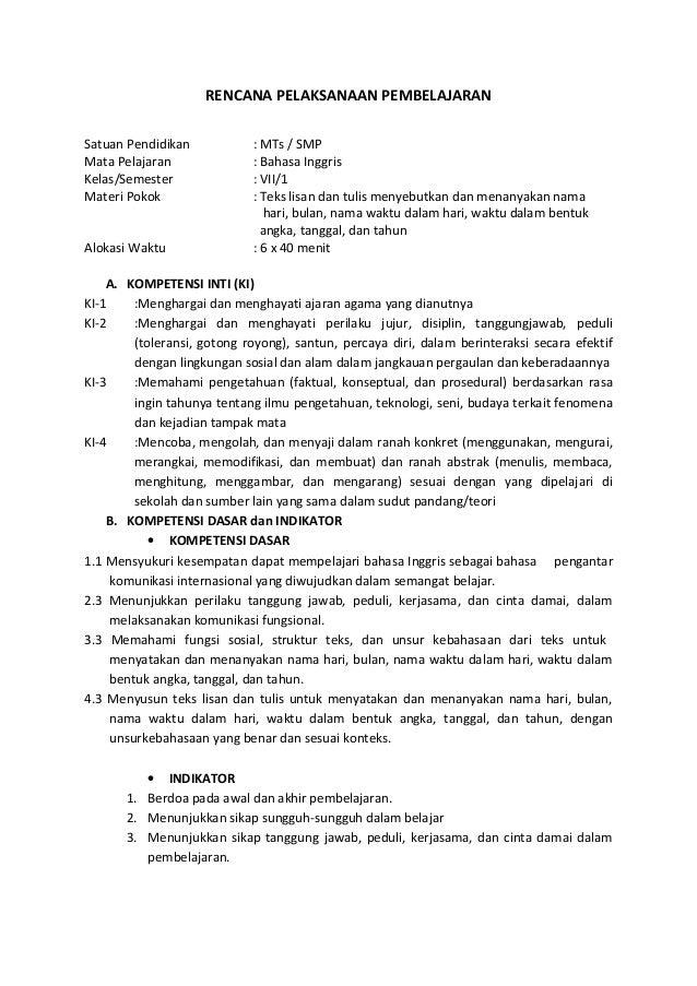 Rpp Bahasa Inggris Smp Kelas 7 Kurikulum 2013 Materi Greeting Guru Ilmu Sosial